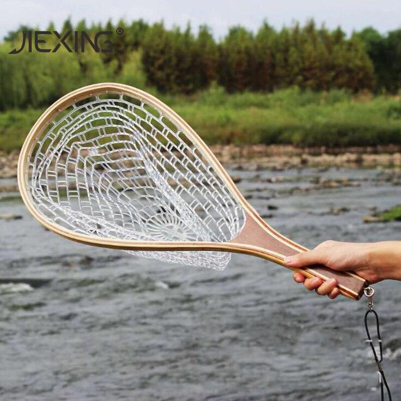 Balıkçılık tor ağı ahşap saplı naylon silikon örgü kepçe net güçlü sinek balık ağları balık ekipmanları malzemeleri