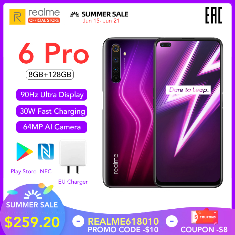 realme 6 Pro Global Version Mobile Phone 8GB RAM 128GB ROM 6Pro Snapdragon 720G 90Hz Display 30W Flash Charge 4300mAh Cellphone|Cellphones|   - AliExpress
