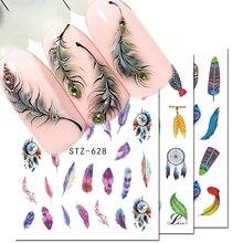 1 stücke Wasser Decals Nail art Aufkleber Dream Catcher Feather Wasserzeichen Klebstoff Sliders Tipps Wraps Dekoration Maniküre BESTZ628 644