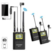 K&F Concept UHF 100M Wireless Lavalier Microphone 100 Channels with 2 Transmitters+1 Dual-channel receiver for Canon Nikon DSLR