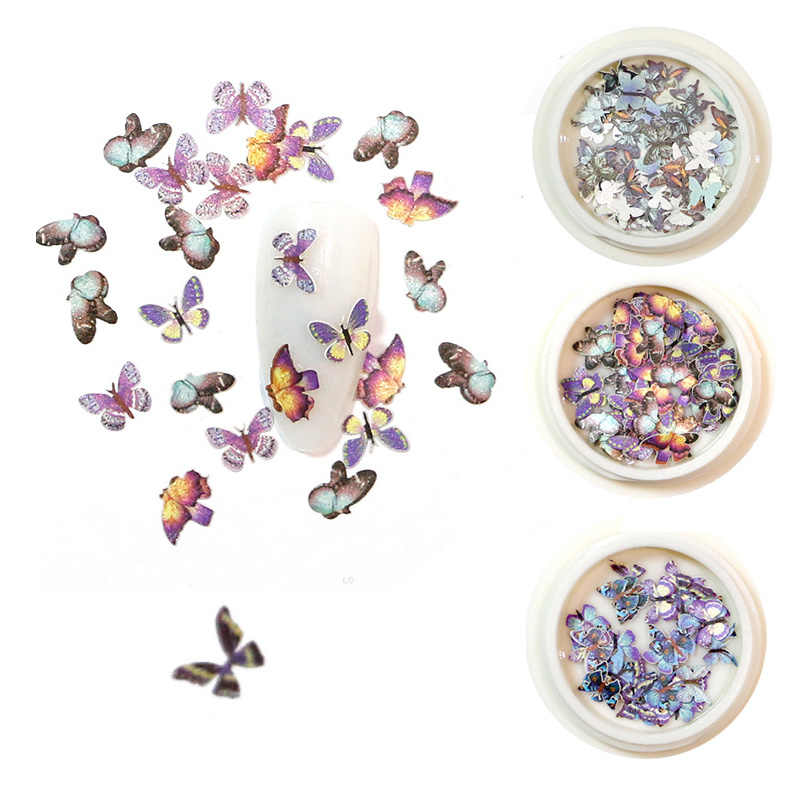 New 1 Box Butterfly Sequins 3D Nail Art Decorations Emulational Design Japanese Style Decor for Nail Art Accessories