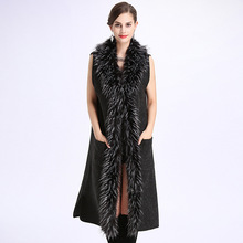 Women Autumn Winter Wool Blend Vest Waistcoat Lady Office Wear Long Coat Casual Sleeveless Faux fur Jacket