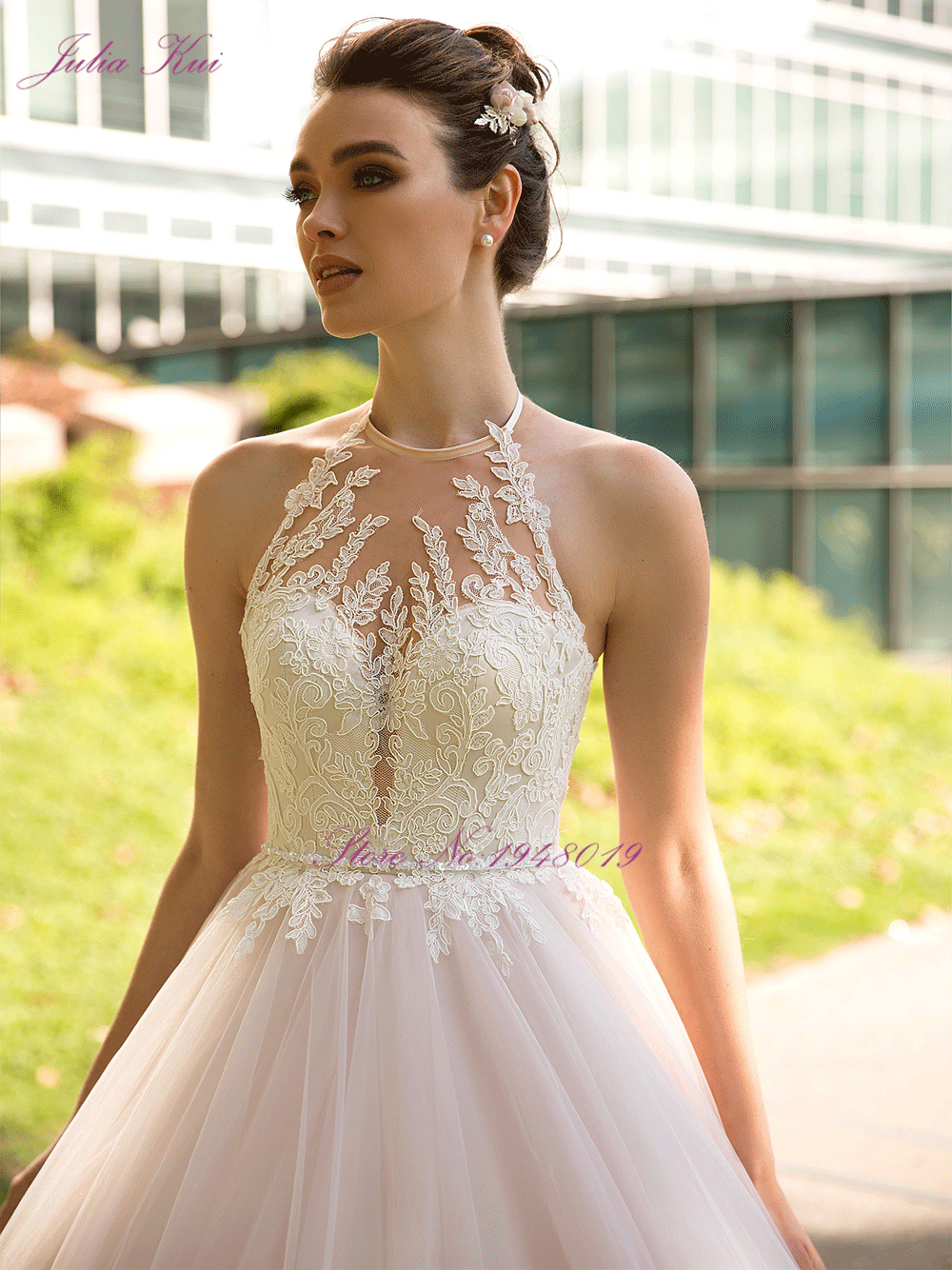 Julia Kui Vintage Ball Gown Wedding Dress 2020 Customized Sexy Halter Backless Court Train Princess Wedding Gowns - 3