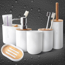6Pc set Bathroom Set Mouthwash Toothbrush Cup Bamboo soap dish soap dispenser holder toothbrush soap holder bathroom accessories europe 5pcs pink ceramic toothbrush holder cup soap dish shampoo bottle dispenser eco friendly couple bathroom accessories set