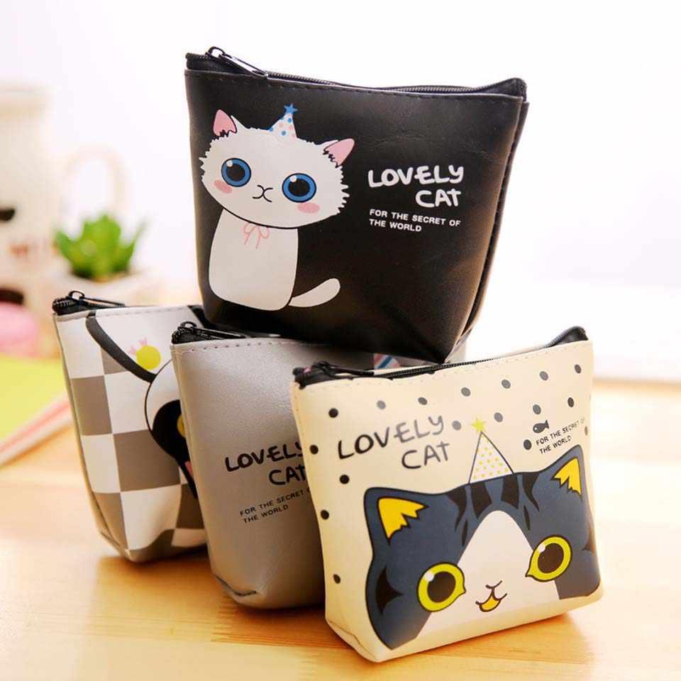 Moda Gato Bonito Impresso bolsa de Moedas Lanches Moda Coin Bolsas Zipper Pequena Mudança Bolsa Chave Titular da Carteira Bolsa Silicone