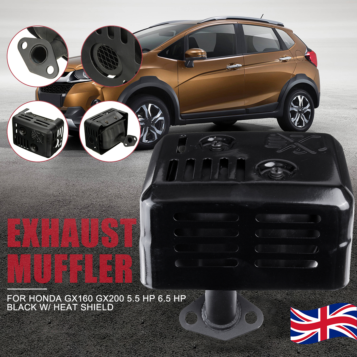 Brand New Exhaust Muffler System with heat shield For Honda GX120 GX160 GX200 5.5 for HP 6.5 for HP  Assembly Gasket