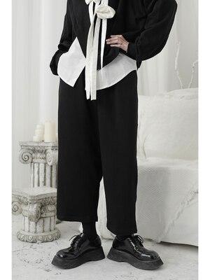 Homemade yamamoto-inspired, dark, Unisex, designer wide-legged Haren Capri Pants