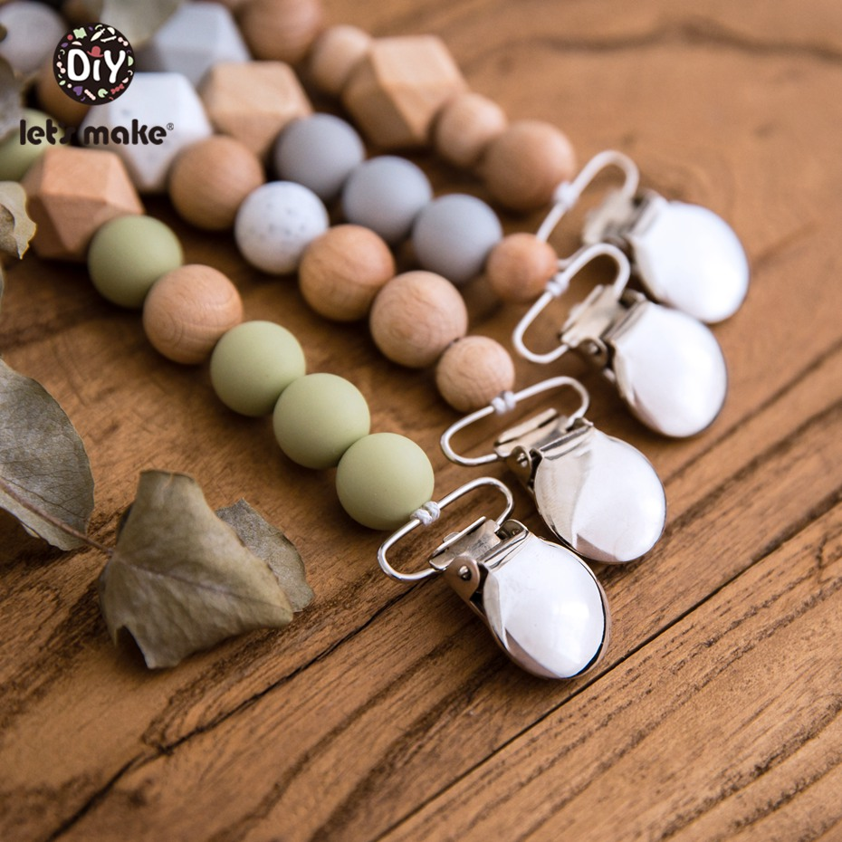 Let's Make 1pc Pacifier Chain Baby Comfort Toy Crochet Beads Small Bell Baby Stroller Accessories Newborn Baby Pacifier Chain