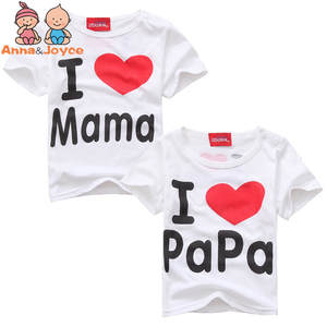 Clothing T-Shirts Tops Girls Mama Papa Love Children for Boys Kids