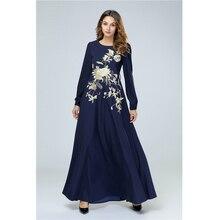 Новое мусульманское платье мусульманское винтажное абайя для женщин Тяжелая вышивка с длинным рукавом Дубай, Турция Арабские халаты Женская одежда 7415