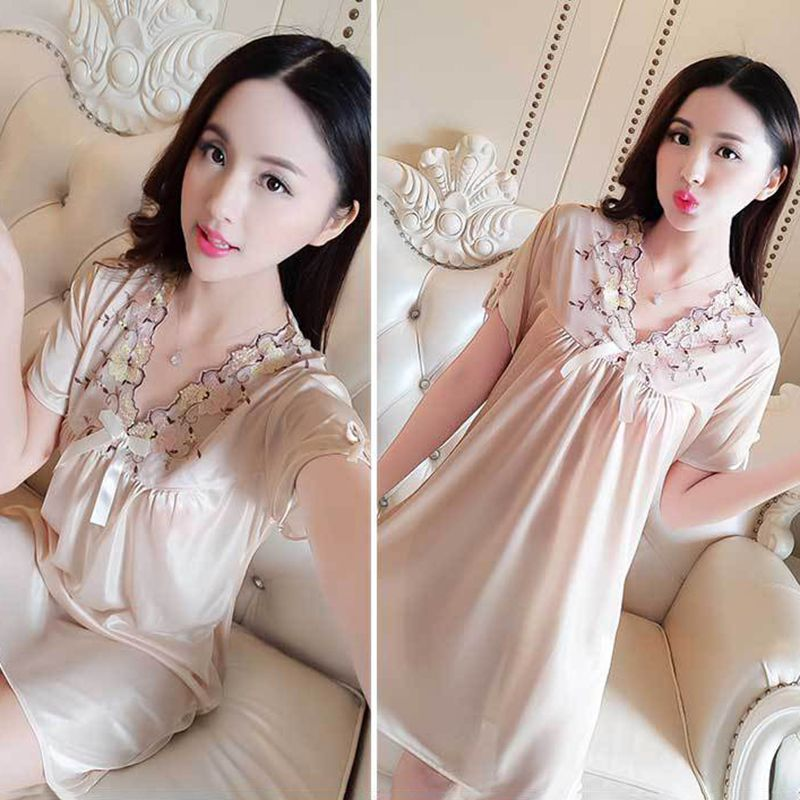 Z Summer Women Thin Solid Color Sexy Lace Bow Plain Night Dress Short Sleeve Nightdress Lingerie Ice Silk Home Knee Dress