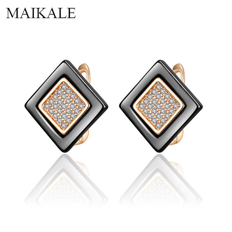 MAIKALE Classic Square Ceramic Earrings Gold Silver Color Zirconia Small Stud Earrings for Women Jewelry Girls Romantic Gifts