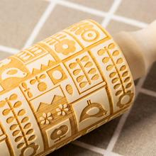 Christmas Embossing Rolling Pin Non-Stick Fondant Dough Roller Decorating Cake Tool