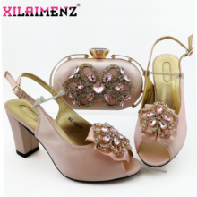 Special Design Italian Shoes With Matching Bags Set Nigerian Womens Party Shoes and Bag Sets Pink Color Women Sandals And Bag