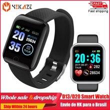 2020 d20 relógio inteligente das mulheres dos homens pressão arterial rastreador de fitness pulseira relógio inteligente d13 à prova dwaterproof água esporte smartwatch android ios