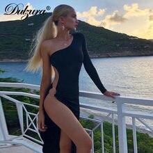 Dulzura vestido midi feminino, vestido midi elegante, vazado, um ombro, fenda lateral, sexy, festa, jantar, outono, inverno, roupas de clube, 2019