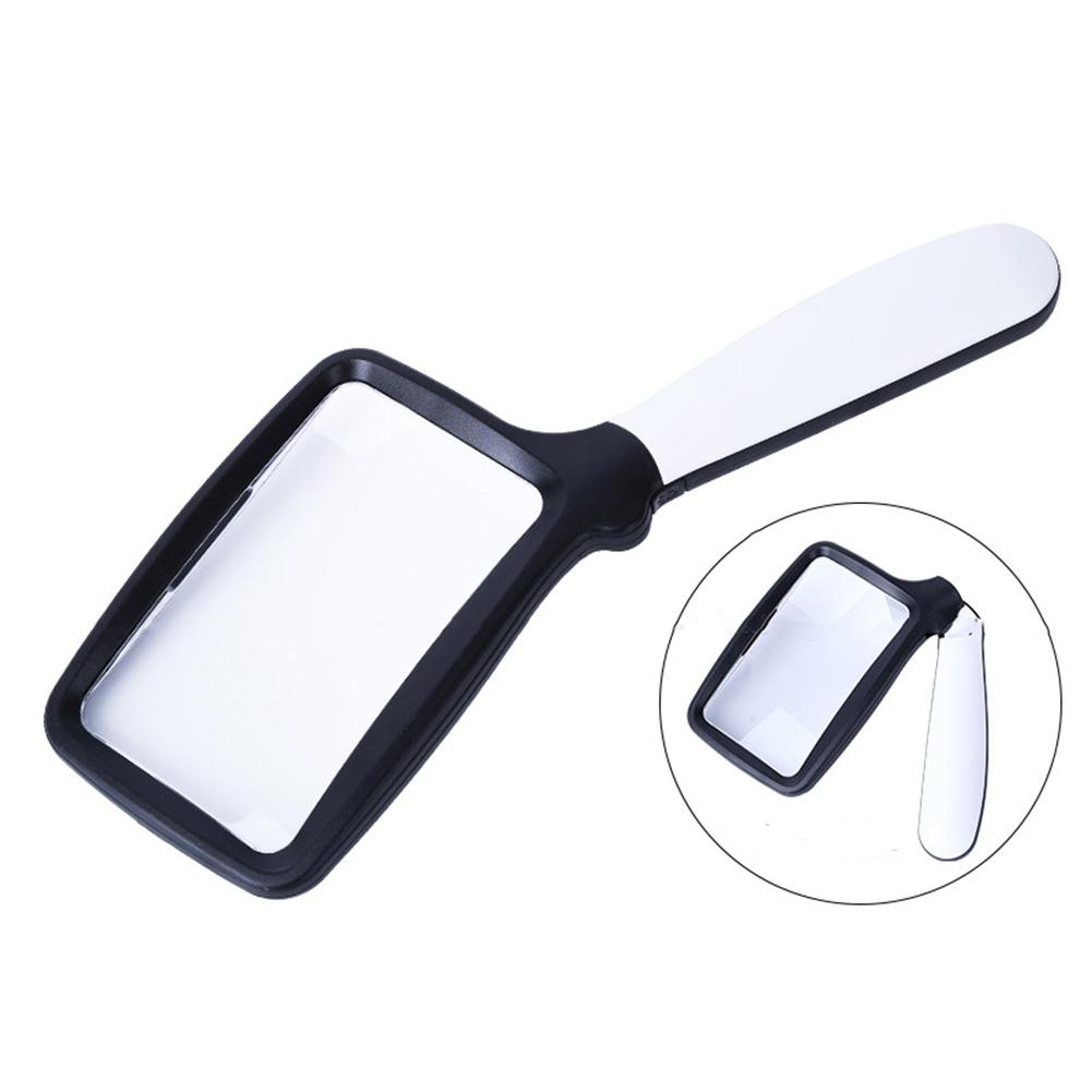 Handheld Magnifying Glass With Light Folding Handle 2X Rectangular Handheld Reading Magnifying Glass For Seniors|Magnifiers| |  -