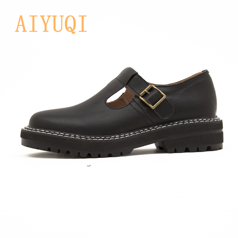 AIYUQI Women Shoes 2020 New Spring Genuine Leather Ladies Oxford Shoes Top Women's Shoes Mary Jane Loafers
