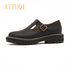 AIYUQI Women Shoes 2020 New Spring Genuine Leather Ladies Oxford Top Women's Mary Jane Loafers