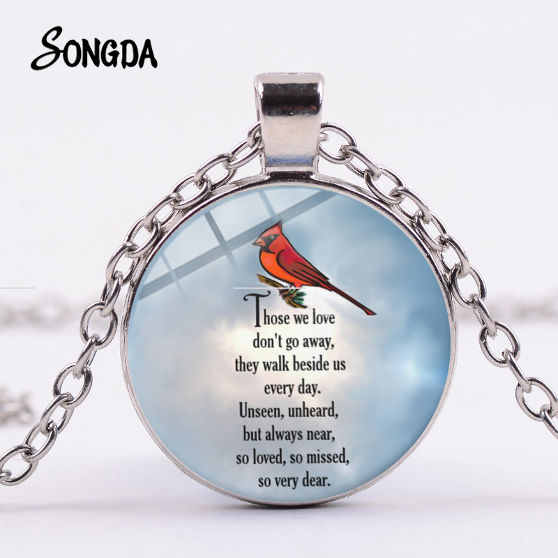 SONGDA Cardinal Parrot Necklace Red Bird My Angel Your Name Bible Quote Art Picture Glass Pendant Memory of Someone Gift Jewelry image