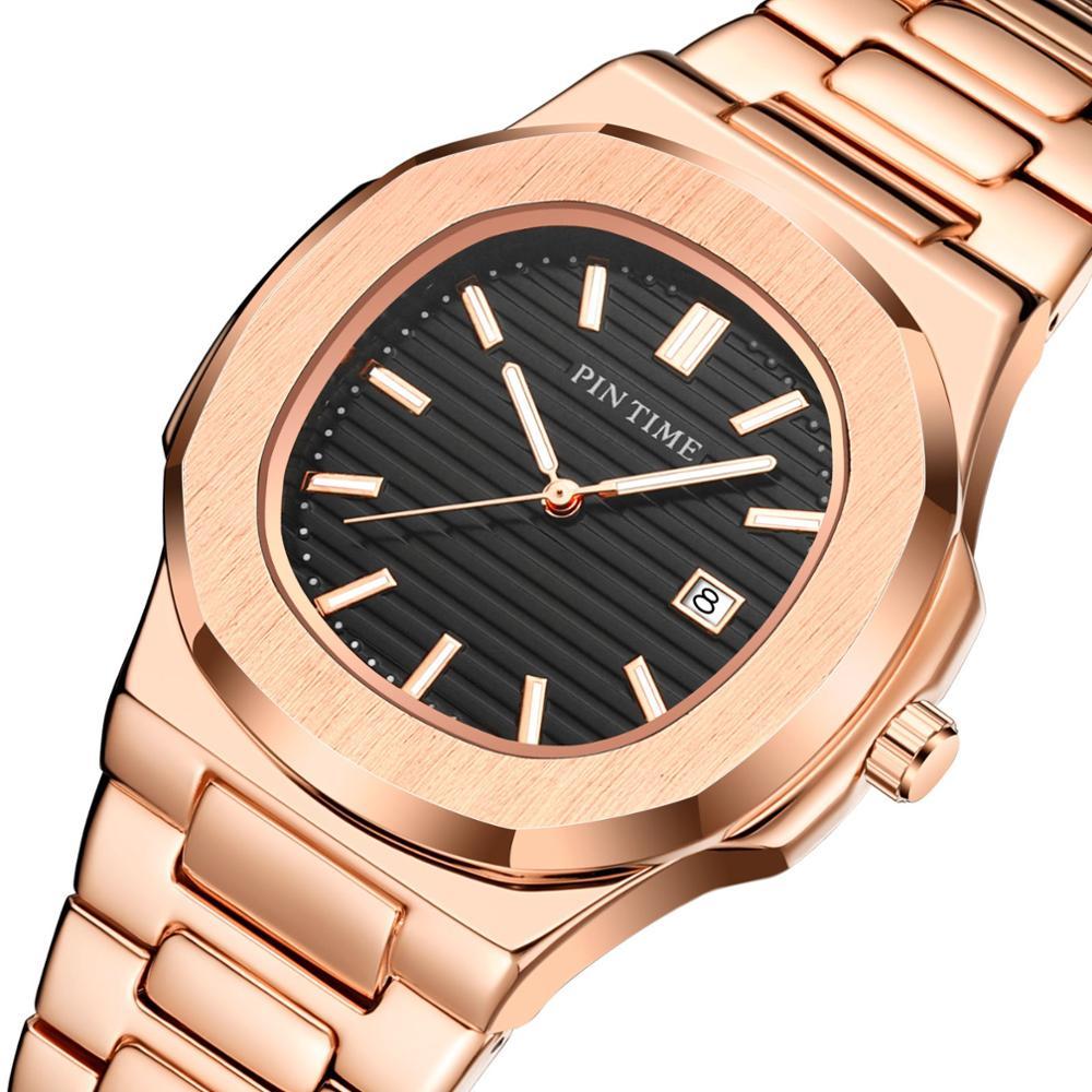 2020 Gold Watch Men Quartz Waterproof PINTIME Mens Watches Top Brand Luxury Stainless Steel Male Wristwatch Montre Homme Relojes