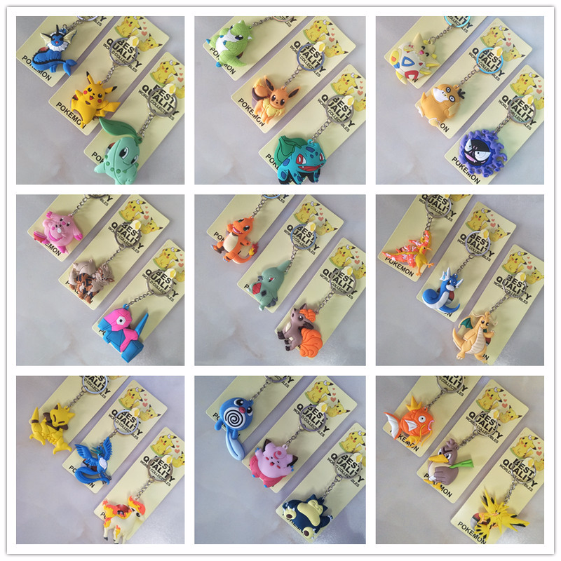 Anime Pokemon Keychain PVC Key Chain Pikachu Articuno Sandshrew Mewtwo Abra Magikarp Gengar Clefairy Bulbasaur Cute Fun Cartoon