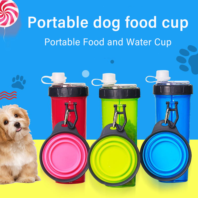 Portable 2 in 1 Pet Food Water Container Silicone Pet Water Bottle Feeding Bowl Outdoor Travel Dog Feeding Supplies