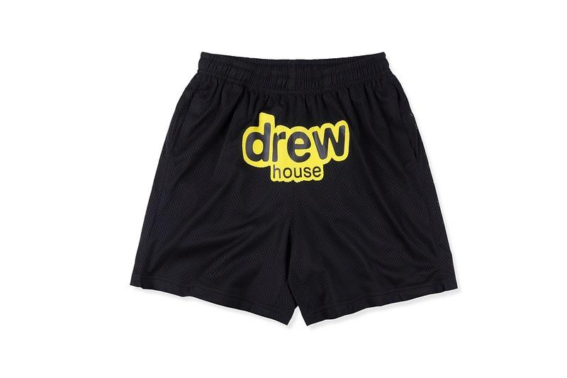 Top Grade Justin Bieber 1:1 Drew House Printed Men Mesh Drawstring Stretch Shorts Hiphop Drew Casual Shorts Beach Shorts