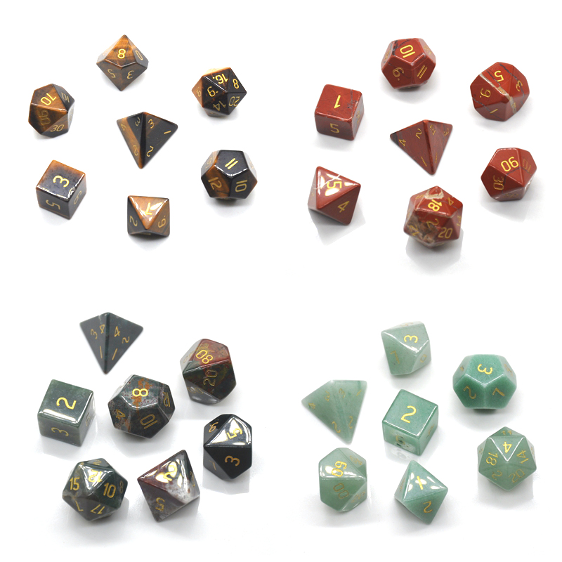 Natural Gemstone Polyhedral Dice Set Healing Crystals for Witchcraft Polished Handmade 7 Stones Reiki Energy Chakra Supplies