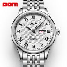 Orijinal marka saatler erkekler DOM M 59 otomatik kendinden rüzgar paslanmaz çelik su geçirmez İş erkekler kol saati saatler