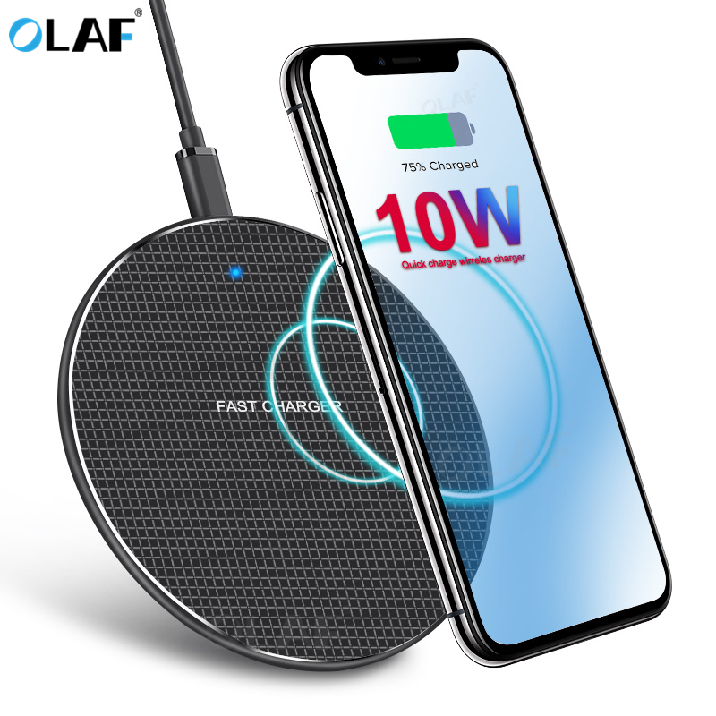 10W Wireless Charger Fast Charging For IPhone X XS 11 Pro Max 8 Qi Wireless Adapter For Samsung Note 9 10 S9 S10 Plus Charge Pad