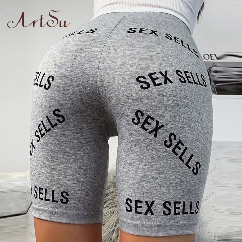 Artsu Fitness Push Up Gym Leggings Shorts Letter Print Women Biker Shorts High Waist Workout 2020 Summer Clothes Sports