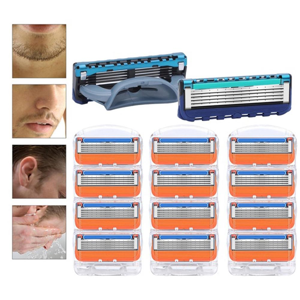 4Pcs 5 Layer Manual Professional Shaving 5 Layers Razor Blades Compatible For Gillettee Fusione For Men Face Care