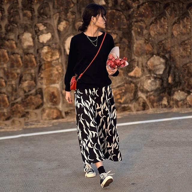 [EAM] Chiffon Pattern Print Black Long High Elastic Waist Half-body Skirt Women Fashion Tide New Spring Autumn 2021 1DD4782 4