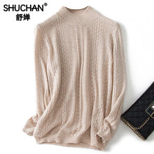 Shuchan Hollow Out Thin Womens Sweaters 90% Wool+10% Cashmere Cute Sweater O-Neck Pullovers White Blue Knit Women