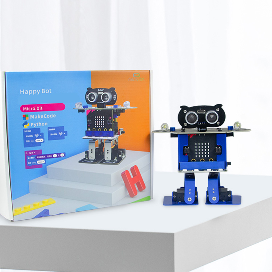 Programmable Dancing Robot Bipedal Humanoid Microbit Robot DIY Programming Starter Kit For Microbit Children Kids Birthday Gift