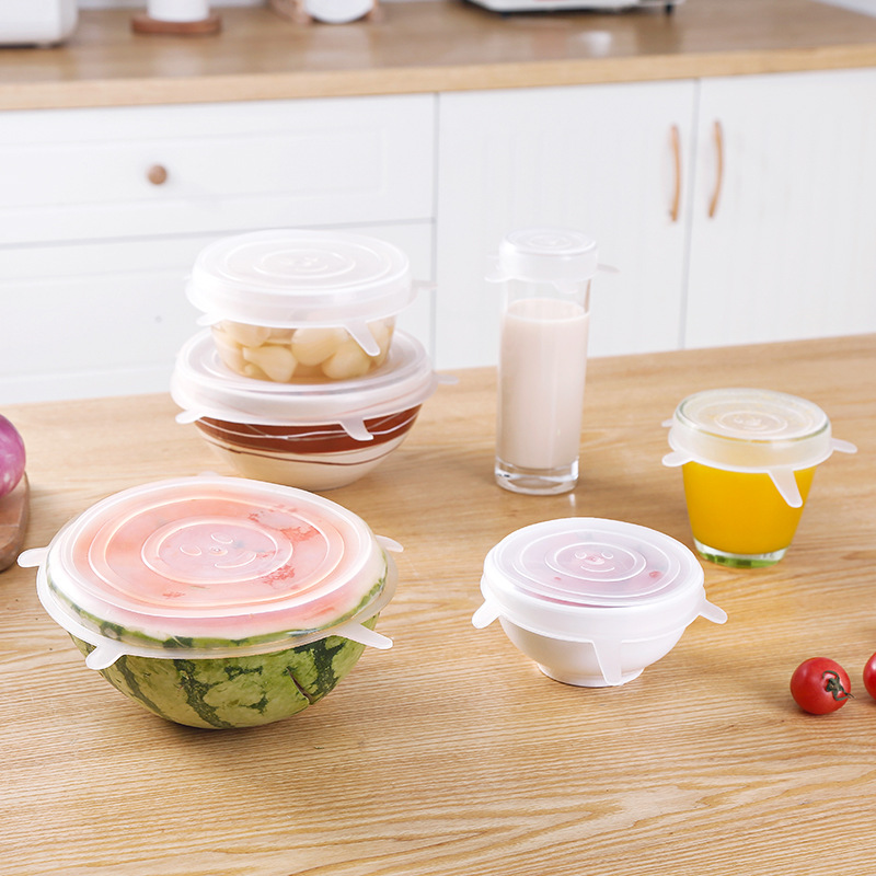 6 Pcs Reusable Silicone Food Caps Elastic Extendable Silicone Cover Stretchable Adaptable Kitchen Fresh-keeping Lids Storage