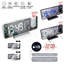 Alarm-Clock Humidity-Mirror-Clock Projection Radio Bedside Temperature Digital LED