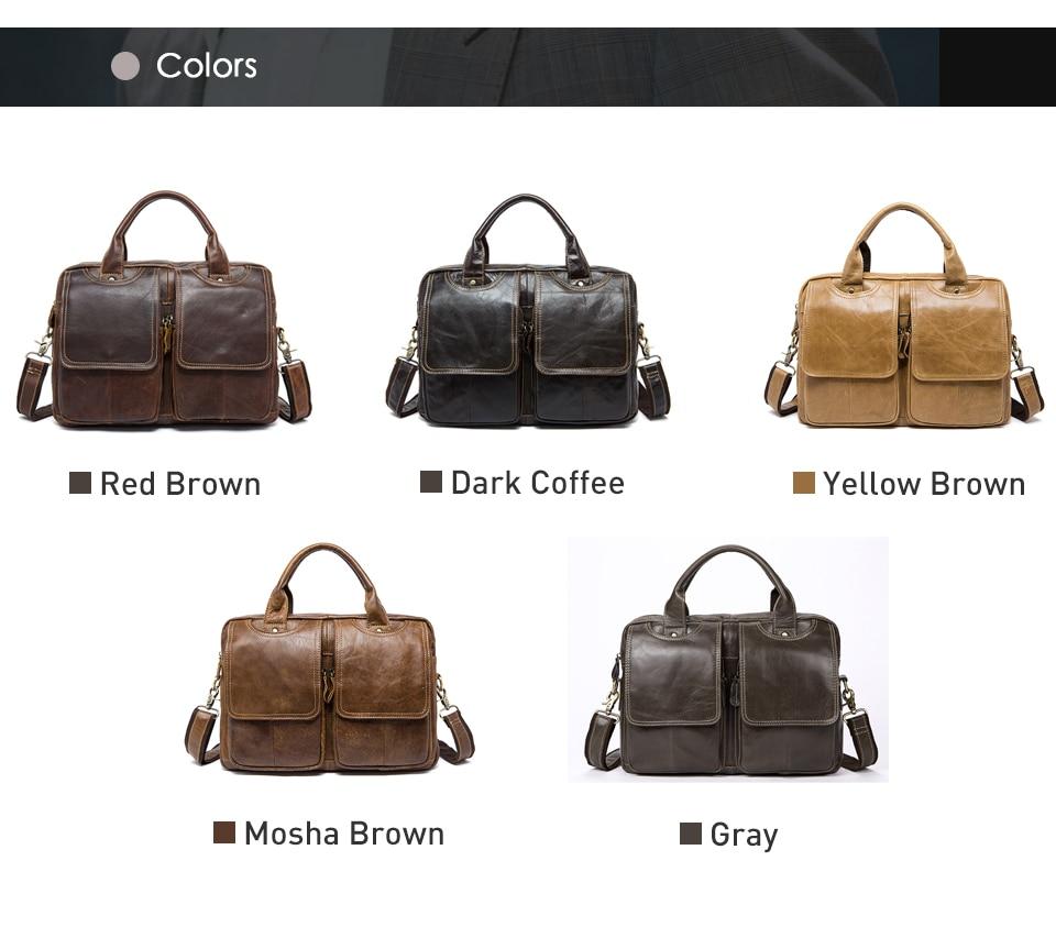 MVA men's bag/briefcase leather office/laptop bag for men's genuine leather bag business document man briefcase handbag 8002-1