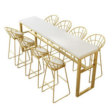 Chairs High-Top-Bar Tables Home Modern Wood Wrought-Iron And Long Golden