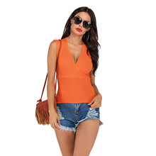 Women Sexy V-Neck Sleeveless Tank Top Autumn Cross Solid Color Knit Casual Vest