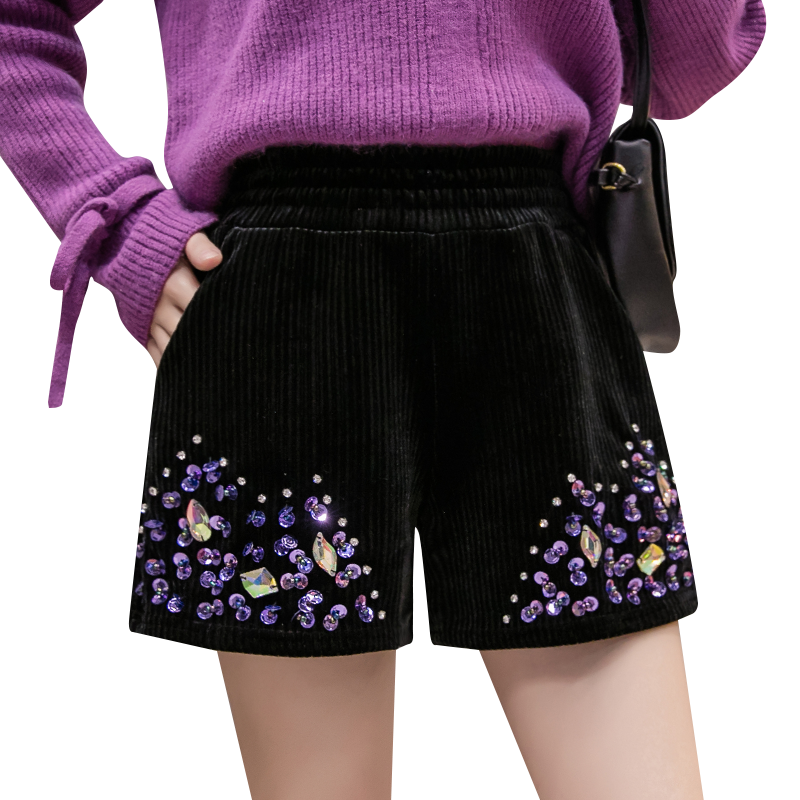 Autumn Winter Bling Diamond Wide Leg Shorts Colored High Waist Corduroy Aesthetic Shorts High Street Chic Warm Women Shorts