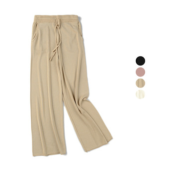 New Fashion Women knitted Wide Leg Pants Spring Summer Drawstring Elastic High Waist Trousers Female Casual Loose  Thin