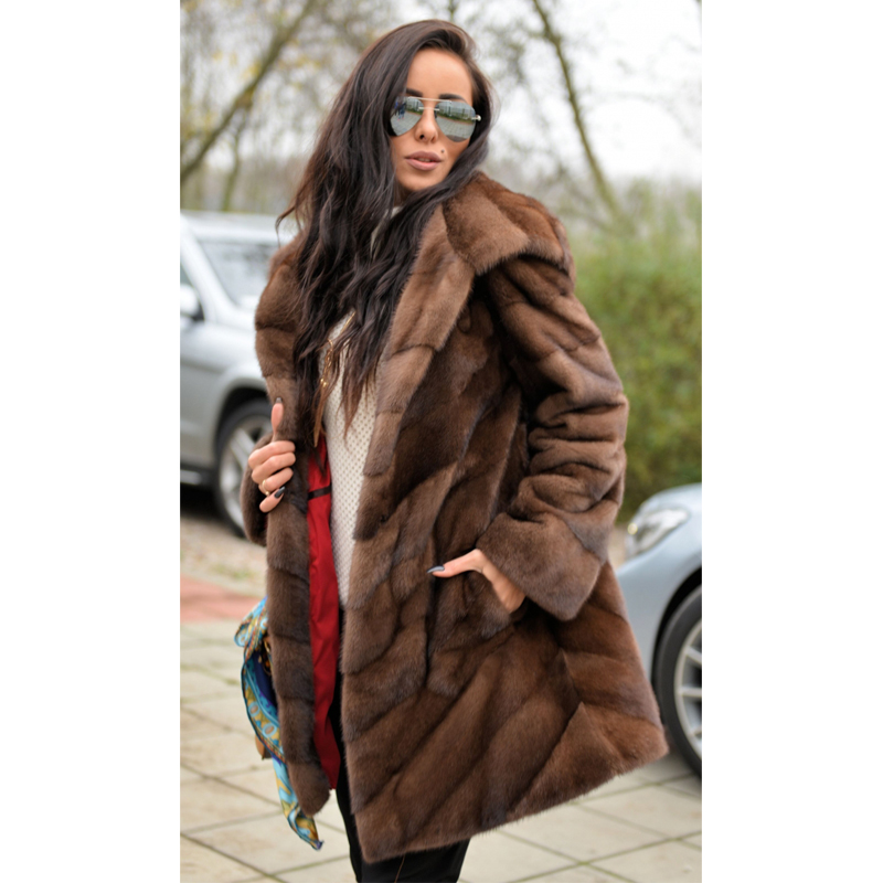 Women Fashion Real Mink Fur Coat With Hood Luxury Genuine Mink Fur Jackets Women Outwear Natural Fur Coats Plus Size Overcoats