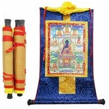 Estatuetas de buda tibetano, oito medicina, estações de rolagem de madeira, impressão de 13