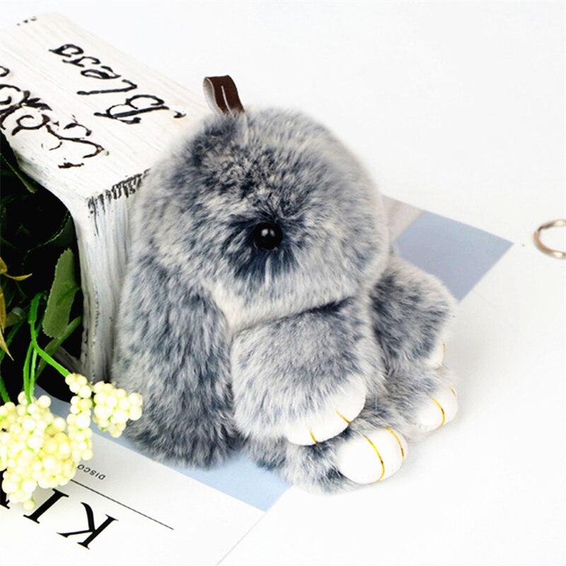 Cute Pluff Bunny Rabbit Keychain Lovely Panda Bear Animal Key Chains Women Girls Bag Car Pom Pom Pompom Fake Fur Keyring