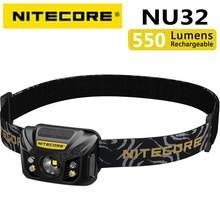 100% original nitecore nu32 cree XP-G3 s3 led 550 lumens farol recarregável de alto desempenho embutido bateria de iões de lítio