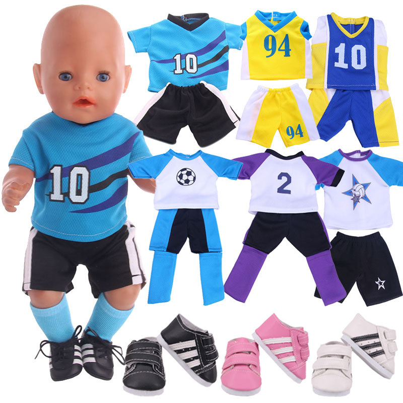 Doll Clothes Football Soccer Sneakers Shoes For 18 Inch American&43CM Reborn Baby New Born Doll ,Girl