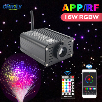 Fiber Optic Lights Bluetooth APP Smart Mobile Control 16W RGBW RF Controller Optical Fiber Cable Star Effect Ceiling  Lighting wholsale rgb 16w black led fiber optic engine driver with 20key rf remote controller for all kinds fiber optics