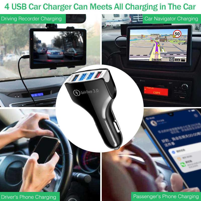4 Port USB Auto Ladegerät Adapter Mit Kabel Universal QC 3,0 Auto Ladegerät Handy Auto-Ladegerät Für iPhone samsung Xiaomi Huawei